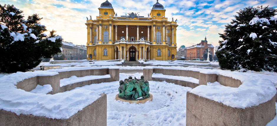 Croatian national theater in Zagreb winter view