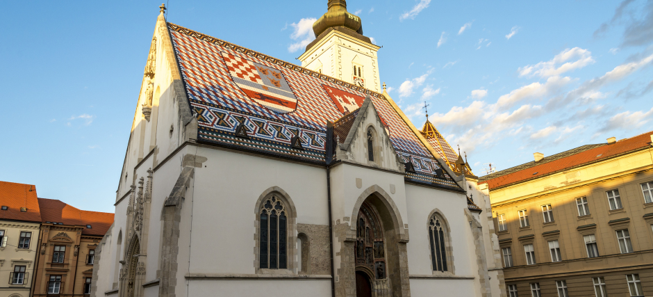 Beautiful St Mark's church with a roof painted in national colors, Zagreb downtown