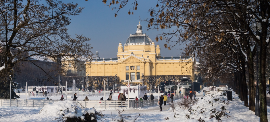 Ice skating park at Ledeni Park in winter, Zagreb