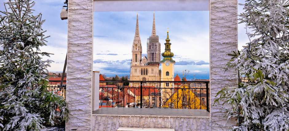 Zagreb cathedral and cityscape advent view, famous landmarks of Croatian capital city
