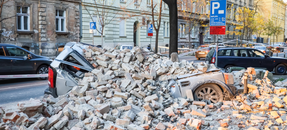 Zagreb hit by the earthquake destroyed cars